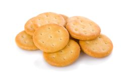 Small appetizer crackers isolated on white Royalty Free Stock Photo