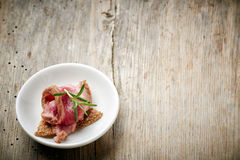 Small appetizer with roast beef Royalty Free Stock Image