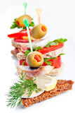 Small appetizer sandwiches Stock Images