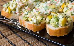 Small appetizers with avocado Royalty Free Stock Photo