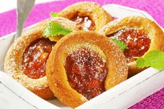 Small apple filled cakes stock photos