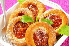 Small apple filled cakes stock image
