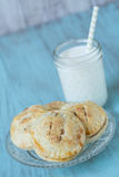 Small Apple Hand Pies With Glass of Milk Stock Images