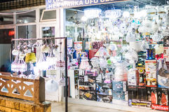 Small Appliances Shop. Small shop in local market of a Turkish summer town located in Marmara region of the country. Selling lighting fixtures, indirect-type Stock Image