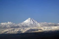 Small Ararat. View to small Ararat through clouds Royalty Free Stock Image