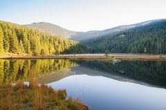 Small Arber lake in the autumn, Bavaria, Germany.  Royalty Free Stock Photos