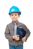 Small architect boy with laptop royalty free stock images