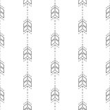 Small arrow line seamless pattern. Tiny thin arrows in dashed line rows tileable white background Royalty Free Illustration