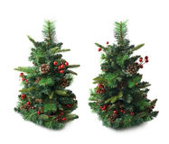 Small artificial Christmas tree isolated Royalty Free Stock Photos