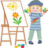 The small artist. The cheerful child draws hands flowers stock illustration