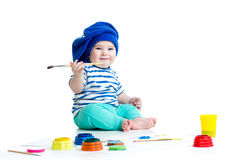 Small artist baby with paints Royalty Free Stock Photo