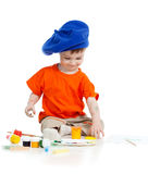 Small artist child with paints Stock Images