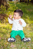 A small asian child plays in the Park sitting on the grass Royalty Free Stock Images