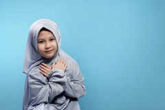 Small asian girl in hijab with smile face Stock Images