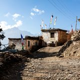 Small asian mountain village Jhong in autumn in Lower Mustang, Nepal, Himalaya, Annapurna Conservation Area. Square image royalty free stock photos