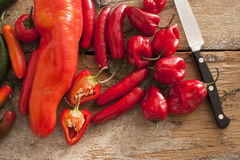 Small assortment of red hot peppers near knife Stock Images