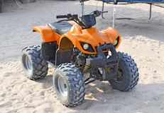 Small ATV rentals. Rental services on the beach by the sea Stock Image