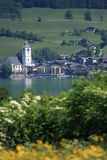Small Austrian Town by the lake of Wolfgangsee. Wolfgangsee is a lake in Austria that lies mostly within the state of Salzburg and is one of the best known lakes Stock Photography