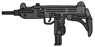 Small automatic gun. Hand drawn vector illustration Royalty Free Illustration