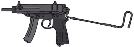 Small automatic gun. Vector illustration, hand drawing Royalty Free Illustration