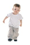 Small baby. Boy in t-shirt over white Royalty Free Stock Image