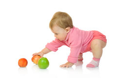 Small baby with apple #8 isolated Royalty Free Stock Photos