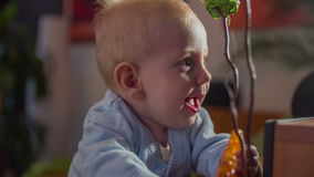 Small baby boy playing in the living-room. Close up slow motion footage of a cute blue eyes happy baby boy standing by the plant and playing with his plastic toy stock video footage