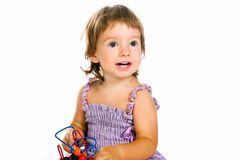 Small baby with developmental toy Stock Photo