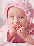Small baby with a dummy Stock Image
