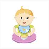 Small baby eating porrige. Vector illustration Stock Images