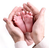 Small baby feets lying on a father`s hands Royalty Free Stock Image