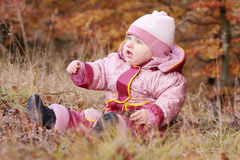 Small baby in forest Royalty Free Stock Photography