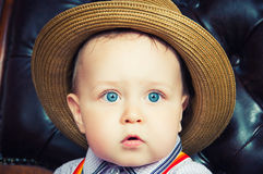 Small baby gentleman in a hat. Royalty Free Stock Photo