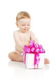 The small baby with a gift in the hands Stock Photography
