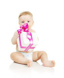 The small baby with a gift in the hands Royalty Free Stock Photo