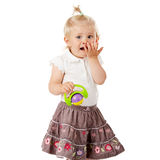 Small baby girl with a toy Stock Image