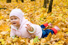 Small Baby In Autumn Forest Royalty Free Stock Photography