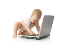 Small baby with laptop #11 isolated Stock Images