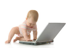 Small baby with laptop #17 isolated Royalty Free Stock Image