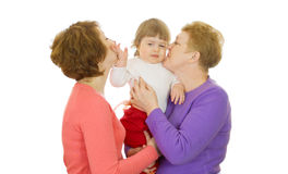 Small baby with mother and grandmother Royalty Free Stock Photography