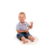 Small baby playing with soap bubbles Stock Images