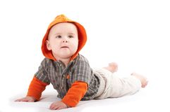 Small baby posing. Small baby boy wearing colorful shirt posing Royalty Free Stock Images