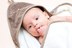 Small baby puts a finger in her mouth. Royalty Free Stock Photography