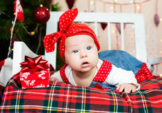 Small baby in santa hat Stock Photography