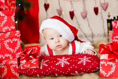 Small baby in santa hat Royalty Free Stock Photo