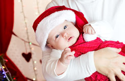 Small baby in santa hat Royalty Free Stock Images