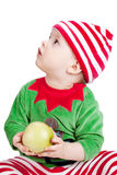 Small baby in santa suit Stock Image
