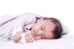 Small baby sleeping. Closeup of small baby while he was sleeping Royalty Free Stock Image