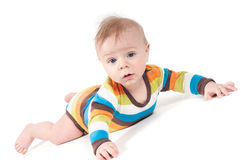 Small baby in striped clothes Stock Photography