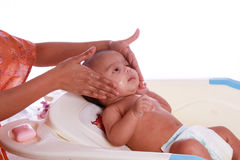 Small baby taking a bath. Mother is giving bath to Small baby at baby tub ,  against white background Royalty Free Stock Images
